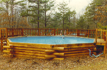 pool matches log cabin home - Above Ground Fiberglass Swimming Pools